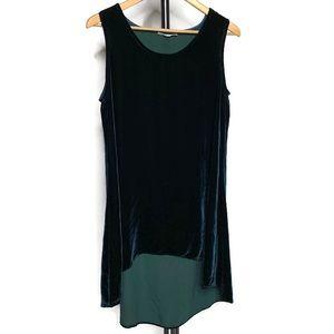 Bryn Walker Green High Low Velvet Sleeveless Dress